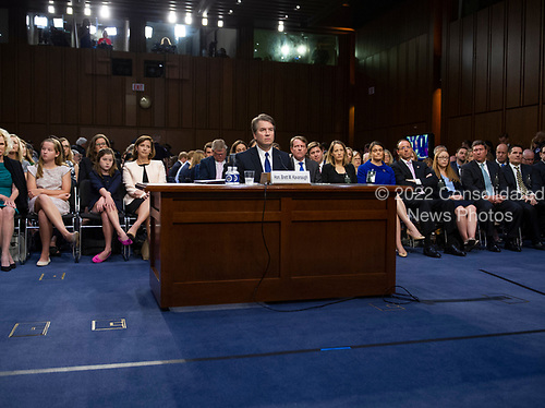 Judge Brett Kavanaugh listens to the discussions between the majority and minority members prior to giving testimony before the United States Senate Judiciary Committee on his nomination as Associate Justice of the US Supreme Court to replace the retiring Justice Anthony Kennedy on Capitol Hill in Washington, DC on Tuesday, September 4, 2018.<br /> Credit: Ron Sachs / CNP<br /> (RESTRICTION: NO New York or New Jersey Newspapers or newspapers within a 75 mile radius of New York City)