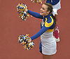 Kellenberg senior Brooke Hunstein and the varsity cheerleaders entertain the crowd during an NSCHSAA football game played against host Chaminade High School in Mineola on Sunday, Oct. 14, 2018.
