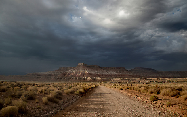 Stormy skies pass through the Southern Utah landscape at sunset