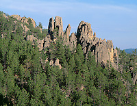 SDBH_01 - USA, South Dakota, Custer State Park, Rocky outcrops called spires rise above pine forest in the Needles area.