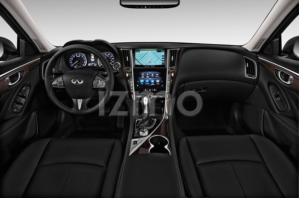 Stock photo of straight dashboard view of 2017 Infiniti Q50 Hybrid-Premium 4 Door Sedan Dashboard