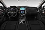 Stock photo of straight dashboard view of 2017 Infiniti Q50 Hybrid-Premium 4 Door Sedan Dashboard