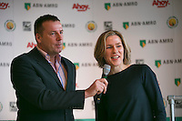 09-01-14, Netherlands, Rotterdam, TC Kralingen, ABNAMROWTT Press-conference, Jolanda Jansen(AHOY) with speaker Edward van Cuilenborg.<br /> Photo: Henk Koster