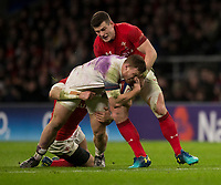Englands' Sam Simmonds is tackled by Wales' Scott Williams<br /> <br /> Photographer Bob Bradford/CameraSport<br /> <br /> NatWest Six Nations Championship - England v Wales - Saturday 10th February 2018 - Twickenham Stadium - London<br /> <br /> World Copyright &copy; 2018 CameraSport. All rights reserved. 43 Linden Ave. Countesthorpe. Leicester. England. LE8 5PG - Tel: +44 (0) 116 277 4147 - admin@camerasport.com - www.camerasport.com