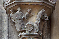 Sculpture of St Laumer as cellarer of the cathedral and the miracle of the wine which did not spill from the casket, from the base of the statue of St Laumer from the left splay of the right bay of the South Portal depicting the Confessors, 12th century, Chartres Cathedral, Eure-et-Loir, France. Chartres cathedral was built 1194-1250 and is a fine example of Gothic architecture. It was declared a UNESCO World Heritage Site in 1979. Picture by Manuel Cohen.
