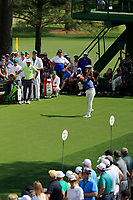 Tommy Fleetwood (ENG) on the 18th tee during the 1st round at the The Masters , Augusta National, Augusta, Georgia, USA. 11/04/2019.<br /> Picture Fran Caffrey / Golffile.ie<br /> <br /> All photo usage must carry mandatory copyright credit (&copy; Golffile | Fran Caffrey)