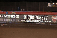 Air Fence Advertising Banner - Lakeside Hammers vs Peterborough Panthers - Sky Sports Elite League Speedway at Arena Essex Raceway, Purfleet - 14/09/12 - MANDATORY CREDIT: Gavin Ellis/TGSPHOTO - Self billing applies where appropriate - 0845 094 6026 - contact@tgsphoto.co.uk - NO UNPAID USE.