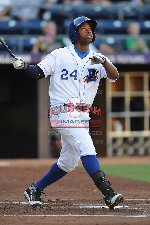 Durham Bulls designated hitter Leslie Anderson #24 swings at a pitch during a game against the Empire State Yankees at Durham Bulls Athletic Park on June 8, 2012 in Durham, North Carolina . The Yankees defeated the Bulls 3-1. (Tony Farlow/Four Seam Images).
