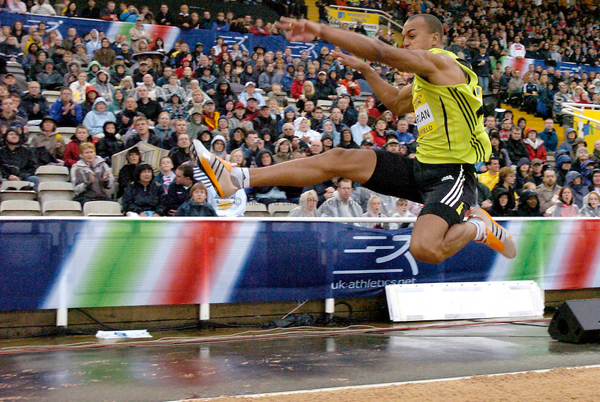 Photo: Richard Lane/Sportsbeat Images..Norwich Union British Grand Prix, Sheffield. 15/07/2007. .Nathan Morgan of Great Britain in the men's long jump.