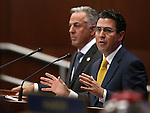Clark County Sheriff Joseph Lombardo, left, and Jeremy Aguero, with Applied Analysis, answer questions from lawmakers during a special session at the Legislative Building in Carson City, Nev. on Thursday, Oct. 13, 2016. Cathleen Allison/Las Vegas Review-Journal