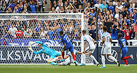 Kylian Mbappe (Monaco) of France hits the crossbar after beating Goalkeeper Jack Butland (Stoke City) of England during the International Friendly match between France and England at Stade de France, Paris, France on 13 June 2017. Photo by David Horn/PRiME Media Images.