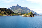 Jagged mountain peaks Raftsundet strait, Lofoten Islands, Nordland, northern Norway