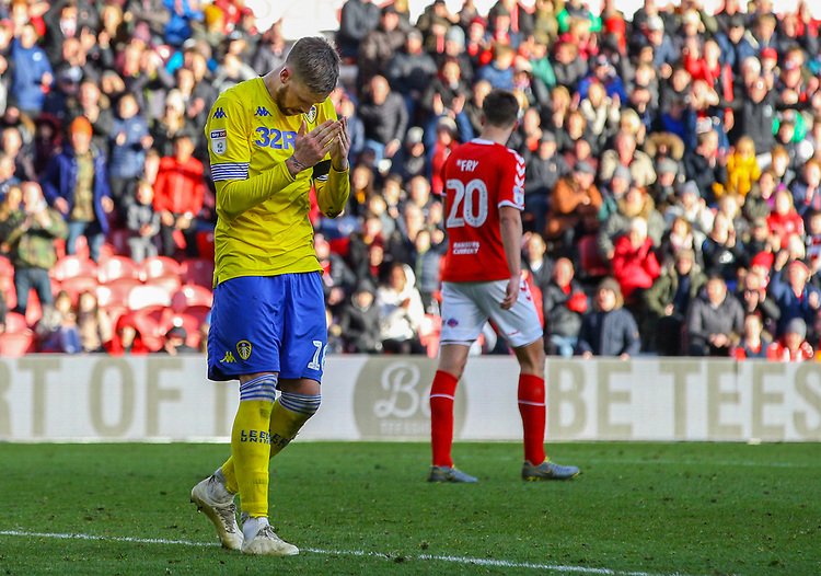 Leeds United's Pontus Jansson rues a wasted chance<br /> <br /> Photographer Alex Dodd/CameraSport<br /> <br /> The EFL Sky Bet Championship - Middlesbrough v Leeds United - Saturday 9th February 2019 - Riverside Stadium - Middlesbrough<br /> <br /> World Copyright &copy; 2019 CameraSport. All rights reserved. 43 Linden Ave. Countesthorpe. Leicester. England. LE8 5PG - Tel: +44 (0) 116 277 4147 - admin@camerasport.com - www.camerasport.com