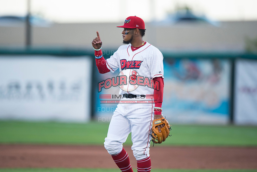 Orem Owlz third baseman Kevin Maitan (9) during a Pioneer League game against the Ogden Raptors at Home of the OWLZ on August 24, 2018 in Orem, Utah. The Ogden Raptors defeated the Orem Owlz by a score of 13-5. (Zachary Lucy/Four Seam Images)