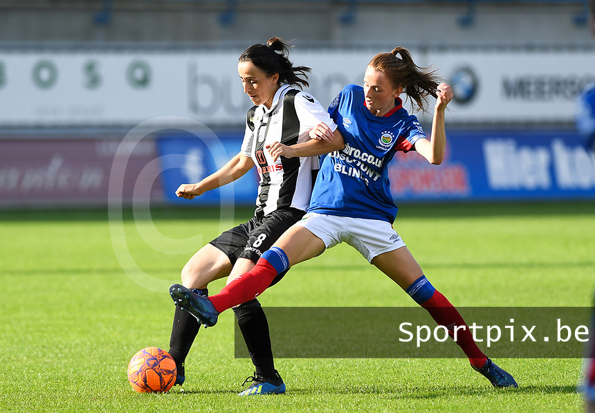 20190810 - DENDERLEEUW, BELGIUM : PAOK's Natalia Chatzigiannidou (left) pictured in a fight for the ball with Linfield's Caitlin McGuinness (r) during the female soccer game between the Greek PAOK Thessaloniki Ladies FC and the Northern Irish Linfield ladies FC , the second game for both teams in the Uefa Womens Champions League Qualifying round in group 8 , Wednesday 7 th August 2019 at the Van Roy Stadium in Denderleeuw  , Belgium  .  PHOTO SPORTPIX.BE   DAVID CATRY