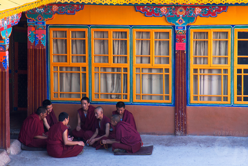 Debating Monks at The Jokhang also known as the Qoikang Monastery, Jokang, Jokhang Temple, Jokhang Monastery and Zuglagkang is a Buddhist temple in&nbsp;Lhasa.Tibet<br />