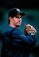 Paul O'Neil of the New York Yankees plays in a baseball game at Edison International Field during the 1998 season in Anaheim, California. (Larry Goren/Four Seam Images)