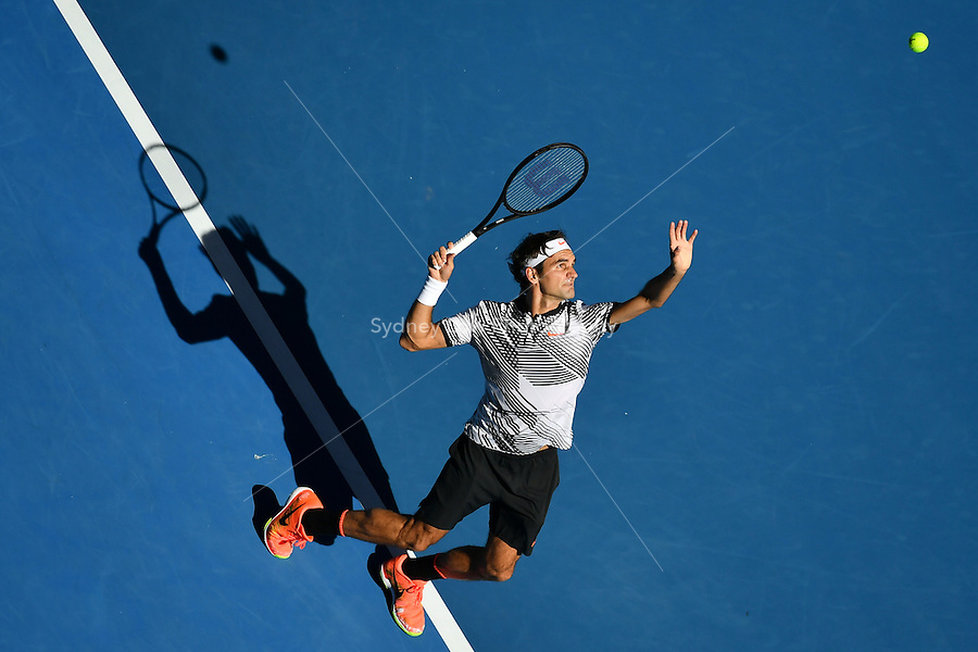 January 18, 2017: Roger Federer of Switzerland in action in a 2nd round match against Noah Rubin of the USA on day three of the 2017 Australian Open Grand Slam tennis tournament in Melbourne, Australia. Sydney Low/AsteriskImages.com