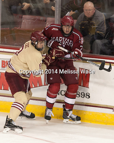 Travis Jeke (BC - 8), Eddie Ellis (Harvard - 7) - The visiting Harvard University Crimson defeated the Boston College Eagles 6-3 (EN) on Tuesday, November 11, 2014, at Kelley Rink in Conte Forum in Chestnut Hill, Massachusetts.