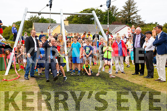 Minister of State for Mental Health and Older People Jim Daly officially opened the double Zip Wire at Cracow Park in Knightstown on Sunday in memory of Eanna Coffey pictured here taking up the challenge of a race from Siún Coffey, Siún won by a landslide.