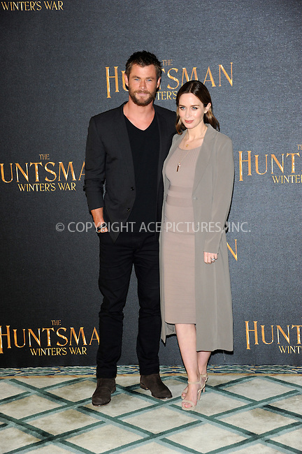 WWW.ACEPIXS.COM<br /> <br /> March 31 2016, London<br /> <br /> Chris Hemsworth and Emily Blunt at a photocall to promote the film 'The Huntsman: Winter's War' in London, on March 31, 2016 <br /> <br /> By Line: Famous/ACE Pictures<br /> <br /> <br /> ACE Pictures, Inc.<br /> tel: 646 769 0430<br /> Email: info@acepixs.com<br /> www.acepixs.com