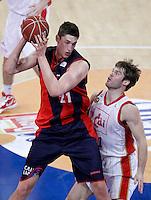 Caja Laboral Baskonia's Tibor Pleiss (l) and CAI Zaragoza's Jon Stefansson during Spanish Basketball King's Cup match.February 07,2013. (ALTERPHOTOS/Acero)