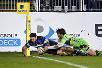 Matt Banahan of Bath Rugby scores a try in the first half. Aviva Premiership match, between Bath Rugby and Northampton Saints on February 9, 2018 at the Recreation Ground in Bath, England. Photo by: Patrick Khachfe / Onside Images