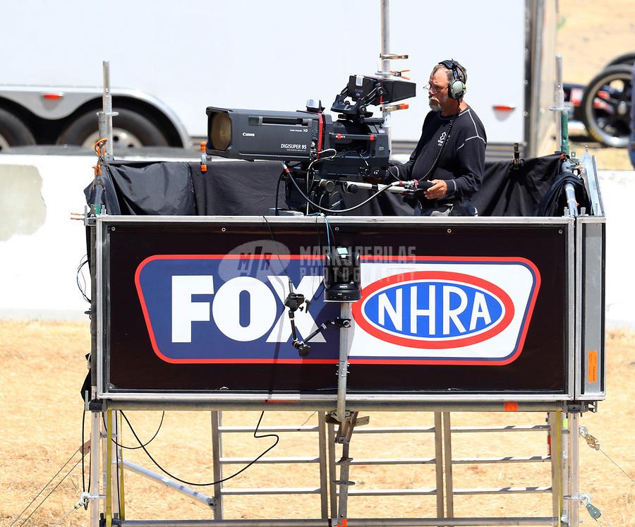 Jul 29, 2017; Sonoma, CA, USA; A Fox Sports cameraman mans a video camera during NHRA qualifying for the Sonoma Nationals at Sonoma Raceway. Mandatory Credit: Mark J. Rebilas-USA TODAY Sports
