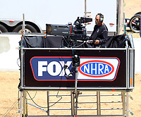 Jul 29, 2017; Sonoma, CA, USA; A Fox Sports cameraman mans a video camera during NHRA qualifying for the Sonoma Nationals at Sonoma Raceway. Mandatory Credit: Mark J. Rebilas-USA TODAY Sports