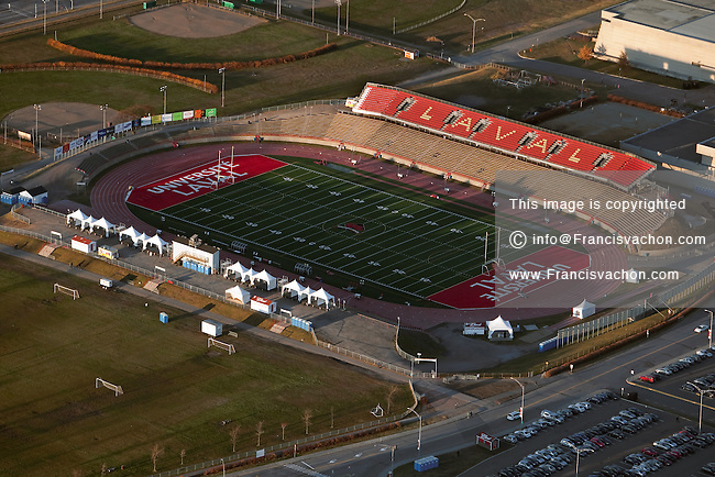 Stade du PEPS de L'universite Laval stadium in Quebec city is pictured in this aerial photo November 11, 2009. The Stade du PEPS is the home of the Rouge et Or Football team and will host the Vanier Cup for 2009 and 2010.