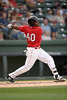Left fielder Juan Barriento (40) of the Greenville Drive bats in a game against the Rome Braves on Saturday, April 14, 2018, at Fluor Field at the West End in Greenville, South Carolina. Rome won, 4-0. (Tom Priddy/Four Seam Images)