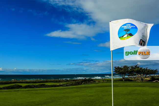 A pin flag on the Shore Course, Monterey Peninsula Country Club during previews ahead of the AT&T Pro-Am, Pebble Beach Golf Links, Monterey, California, USA. 06/02/2019<br /> Picture: Golffile | Phil Inglis<br /> <br /> <br /> All photo usage must carry mandatory copyright credit (© Golffile | Phil Inglis)