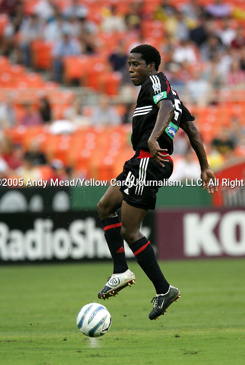 15 July 2005: Clyde Simms. DC United defeated the San Jose Earthquakes 3-0 at RFK Stadium in Washington, DC in a regular season Major League Soccer game.