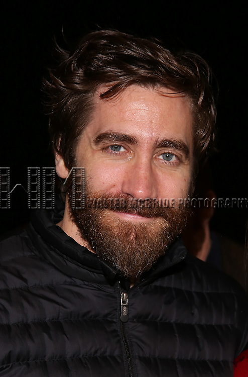 Jake Gyllenhaal during the Actors' Equity opening night Gypsy Robe Ceremony honoring  MaryAnn Hu for ''Sunday in the Park with George' at the Hudson Theatre on February 23, 2017 in New York City.