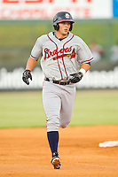 Chase Anselment #32 of the Rome Braves rounds the bases after hitting a home run against the Kannapolis Intimidators at CMC-Northeast Stadium on August 5, 2012 in Kannapolis, North Carolina.  The Intimidators defeated the Braves 9-1.  (Brian Westerholt/Four Seam Images)