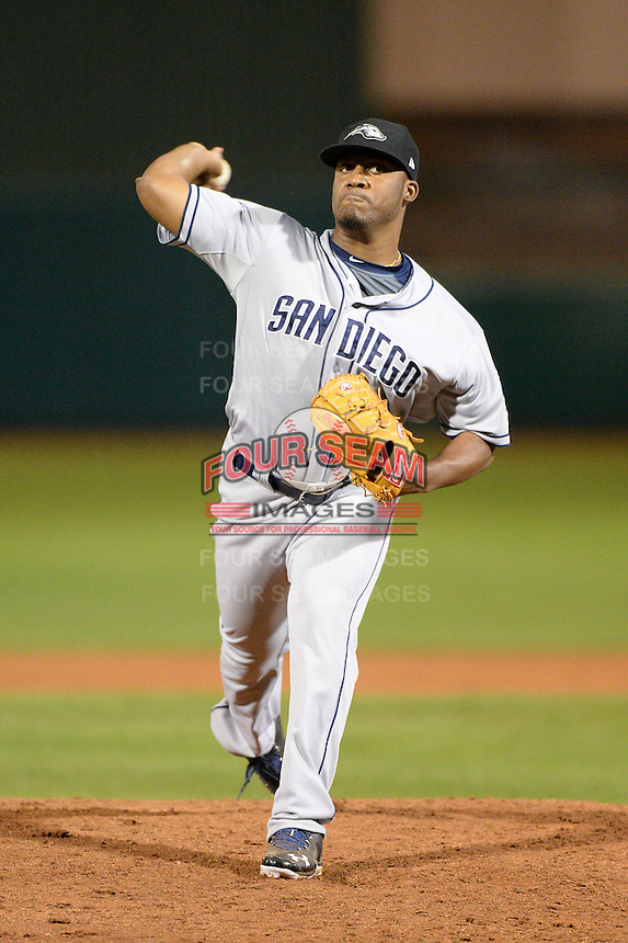 Peoria Javelinas pitcher Keyvius Sampson (33), of the San Diego Padres organization, during an Arizona Fall League game against the Mesa Solar Sox on October 17, 2013 at HoHoKam Park in Mesa, Arizona.  Mesa defeated Peoria 6-1.  (Mike Janes/Four Seam Images)