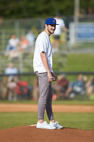 Luke Little prepares to throw out a ceremonial first pitch prior to the game between the Statesville Owls and the Mooresville Spinners at Moor Park on June 14, 2020 in Mooresville, NC.  Little was drafted in the 4th round of the 2020 MLB Draft by the Chicago Cubs out of San Jacinto JC. (Brian Westerholt/Four Seam Images)