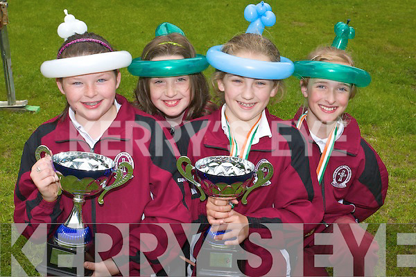 Art Winners Eabha McCarthy, Alex White, Niamh O'Connor and Beatrice Mekauskaiteof Mercy Moyderwell school pictured at feile na mBlath at Tralee town park on Friday.