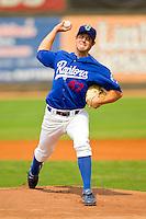 Ogden Raptors starting pitcher Lindsey Caughel (47) in action against the Orem Owlz at Lindquist Field on July 29, 2012 in Ogden, Utah.  The Owlz defeated the Raptors 6-4.   (Brian Westerholt/Four Seam Images)