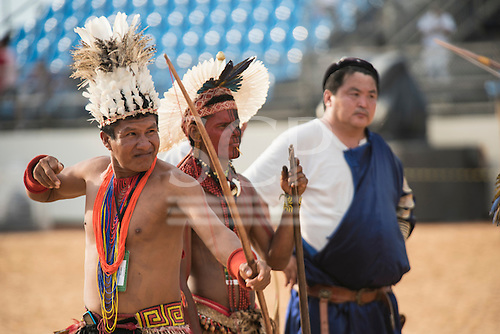 Brazilian and Mongolian archers practice during the International Indigenous Games, in the city of Palmas, Tocantins State, Brazil. Photo © Sue Cunningham, pictures@scphotographic.com 28th October 2015