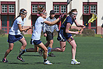 Santa Barbara, CA 02/18/12 - Jamee Jacobson (Michigan #10) and Shelby Baron (BYU #1) in action during the Michigan-BYU overtime period at the 2012 Santa Barbara Shootout.  Michigan defeated BYU 11-10.