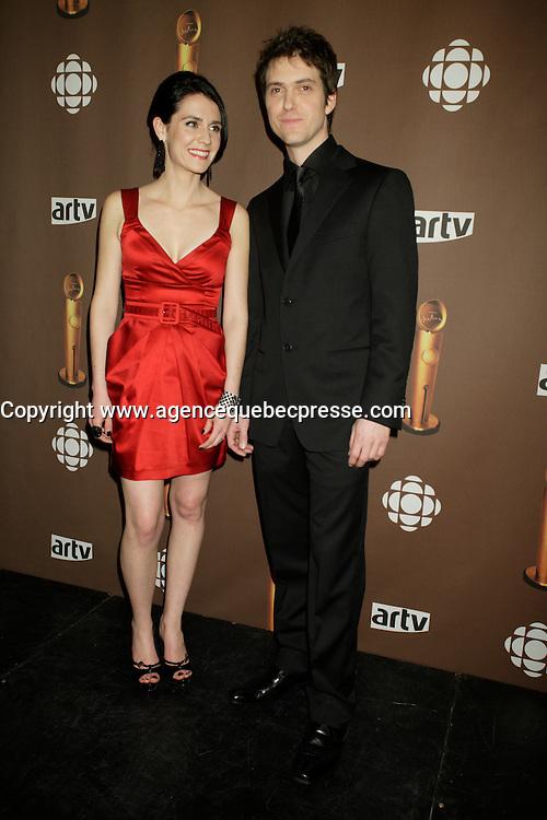 Montreal (Qc) CANADA - March 29 2009 - Jutras award  Gala (for Quebec Cinema) : Melissa Desormeaux-Poulin, Maxime Dumontier