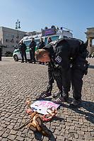"""Die Menschenrechtsorganisation """"Seebruecke"""" rief fuer Samstag den 5. April 2020 zu einer Aktion vor dem Brandenburger Tor unter dem Motto """"#LeaveNoOneBehind"""" (Lasst keinen zurueck) auf. Seebruecke fordert, dass die Bundesregierung sofort die gefluechteten Menschen aus den griechischen Fluechtlingslagern evakuiert, die dort seit Monaten unter katastrophalen Bedingungen leben muessen.<br /> Als Zeichen des Protest gegen die Weigerung der Bundesregierung eine Evakuierung durchzufuehren stellten Menschen vor dem Brandenburger Tor Schuhe auf und legten Schilder """"Wir haben Platz"""" hin.<br /> Trotz der Ankuendigung den Protest unter Vorgaben des Infektionsschutzes aufgrund der Beschraenkungen wegen der Covid-19-Pandemie durchzufuehren - ausreichend Abstand zwischen den Menschen und nicht mehr als zwei Personen gleichzeitig - war die Kundgebung von den Behoerden verboten worden. Die Polizei sammelte die Schuhe und Schilder ein, nahm die Personalien von einzelnen Menschen auf.<br /> Im Bild: Polizeibeamte sammeln Schuhe und Schilder ein.<br /> 5.4.2020, Berlin<br /> Copyright: Christian-Ditsch.de<br /> [NUR FUER REDAKTIONELLE ZWECKE! Werbung nur auf Anfrage beim Fotografen. Inhaltsveraendernde Manipulation des Fotos nur nach ausdruecklicher Genehmigung des Fotografen. Vereinbarungen ueber Abtretung von Persoenlichkeitsrechten/Model Release der abgebildeten Person/Personen liegen nicht vor. NO MODEL RELEASE! Don't publish without copyright Christian-Ditsch.de, Veroeffentlichung nur mit Fotografennennung, sowie gegen Honorar, MwSt. und Beleg. Konto: I N G - D i B a, IBAN DE58500105175400192269, BIC INGDDEFFXXX, Kontakt: post@christian-ditsch.de<br /> Bei der Bearbeitung der Dateiinformationen darf die Urheberkennzeichnung in den EXIF- und  IPTC-Daten nicht entfernt werden, diese sind in digitalen Medien nach §95c UrhG rechtlich geschuetzt. Der Urhebervermerk wird gemaess §13 UrhG verlangt.]"""