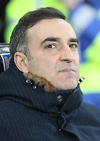 Swansea City Manaager Carlos Carvalhal during the Premier League match between Swansea City and Tottenham Hotspur at the Liberty Stadium, Swansea, Wales on 2 January 2018. Photo by Mark Hawkins / PRiME Media Images.