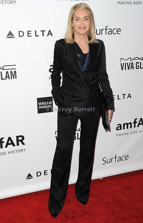 Sharon Stone arriving to the amfAR Inspiration Gala held at Milk Studios in Los Angeles, Ca. December 12, 2013