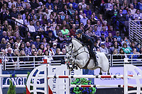 OMAHA, NEBRASKA - APR 1: Lorenzo De Luca rides Limestone Grey during the International Omaha Jumping Grand Prix at the CenturyLink Center on April 1, 2017 in Omaha, Nebraska. (Photo by Taylor Pence/Eclipse Sportswire/Getty Images)