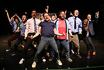 Manu Narayan, Mitchell Jarvis, Jay Klaitz and Paul Whitty with cast during Broadway's 'Gettin' the Band Back Together' on May 4, 2018 at Manhattan Movement & Arts Center in New York City.
