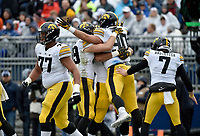 STATE COLLEGE, PA - OCTOBER 27: Iowa DE Sam Brincks (90) celebrates with teammates after catching a pass for a touchdown on a fake field goal. The Penn State Nittany Lions defeated the Iowa Hawkeyes 30-24 on October 27, 2018 at Beaver Stadium in State College, PA. (Photo by Randy Litzinger/Icon Sportswire)