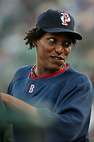 August 24 2008:  Devern Hansack of the Pawtucket Red Sox, Class-AAA affiliate of the Boston Red Sox, during a game at Frontier Field in Rochester, NY.  Photo by:  Mike Janes/Four Seam Images