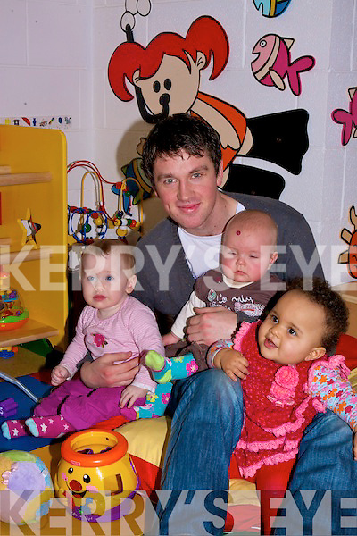 Andrew Dineen the first male childcarer for the North Campus ITT Creche minding some of the children while their mothers and fathers attend classes. Caoime O'Connor,Tegan Fern and Pavla Njesse..........